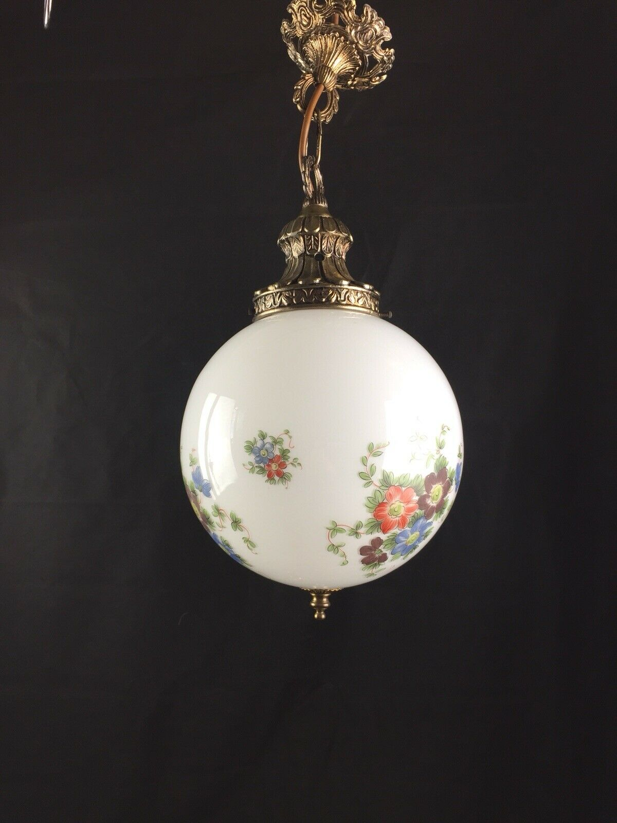 Beautiful Vintage French Brass And Opaline Glass Flower